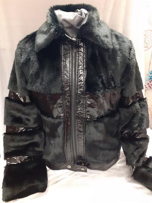 Veste noir fourrure