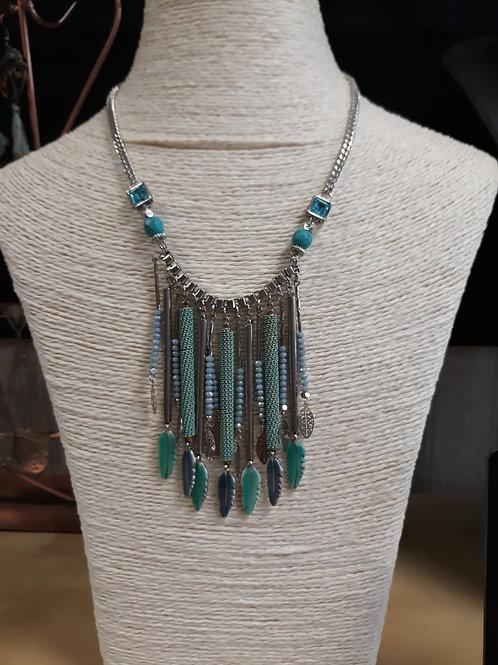 Collier acier inoxydable / turquoise