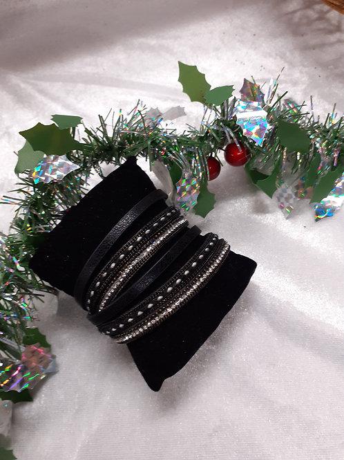 Bracelet Manchette  Noir ou Gris