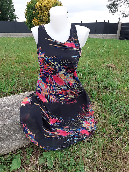 Robe noir multicolore