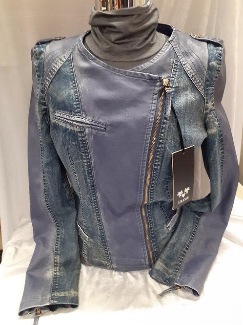 Veste bi matière violet jeans bleu