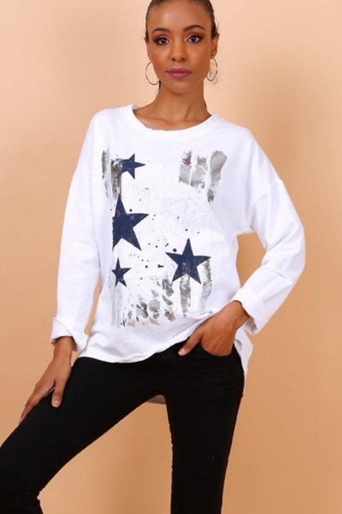 Pull étoiles Blanc