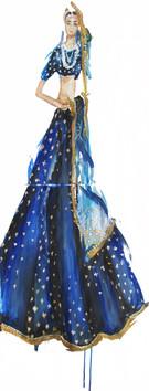 Blue Sabyasachi Fashion Illustration