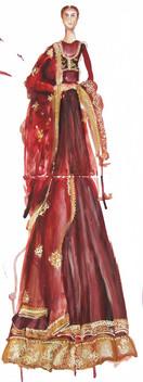 Red Sabyasachi Fashion Illustration