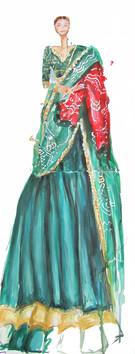 Green Sabyasachi Fashion Illustratiion
