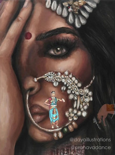 Nose rings were prominently found in South and South East Asia. They were brought to the subcontinent by Mughal emperors and have a special significance in Indian culture too. Women usually wear nose rings as a sign of marital status. In Ayurveda, women who get their nose pierced are believed to have significance to the female reproductive organ due to the pressure of the piercing on the particular node. Adorning this ornament is also considered as paying respect and honour Goddess Parvati. This conspicuous placement of adornment in the piece reveals the nath highlighting the beauty of wearer and how the delicate ornament empowers the woman. This animation is made in collaboration with Manisha Solanki (@pranavadance) who has interpreted the significance and story of the nath through dance, movement, expression, emotion in Bharatnatyam, a classical Indian dance.