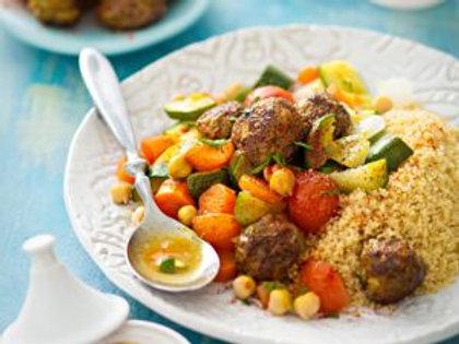 Couscous du chef, boulettes d'agneau, chipolata et merguez