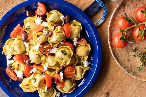 Tortelloni mozza/tomates séchées, sauce crémeuse courgettes et coppa grillée