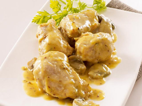 Cocote brioché de Sot l'y laisse de poulet à la moutarde et riz blanc