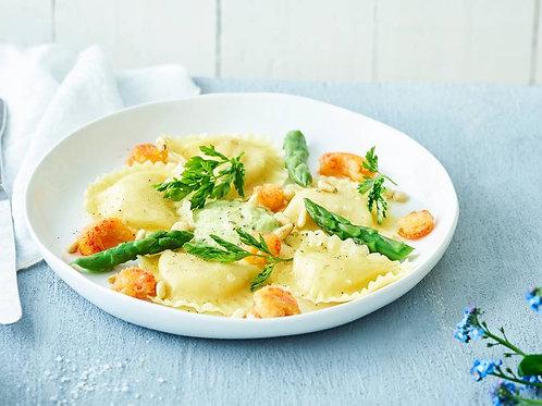 Raviole d'écrevisses aux asperges et sauce homardine