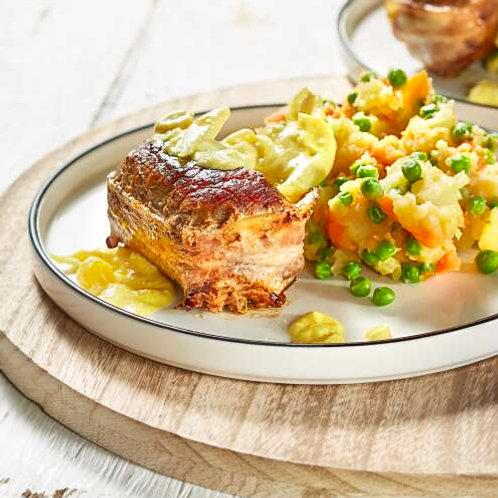 Oiseau sans tête, potée aux pois-carottes et sauce crémeuse au piccalilli