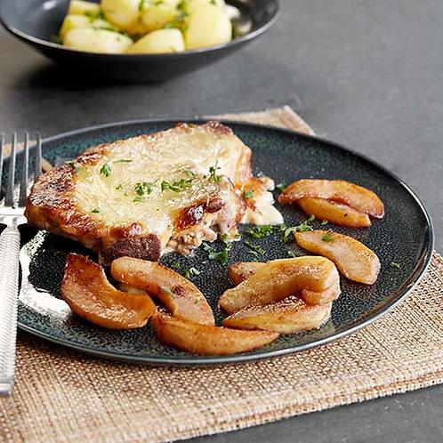 Côtelettes de porc du pays de Herve, pommes au four et grenailles persillées