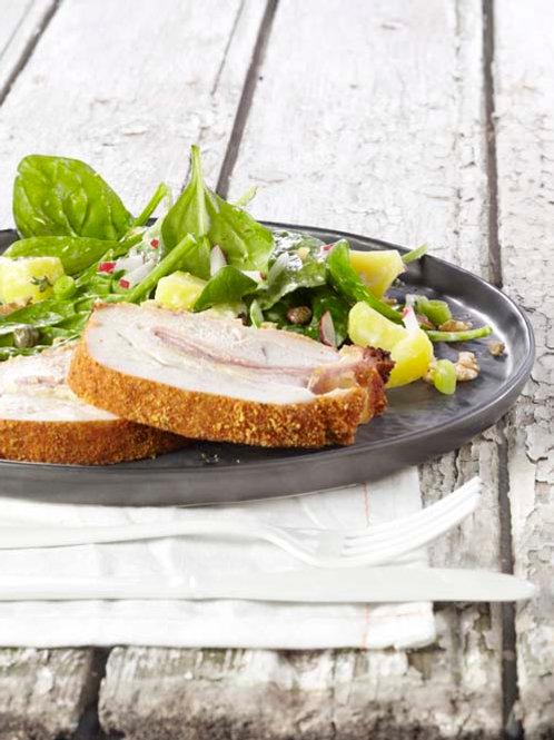 Rôti Orloff et salade de pommes de terre «froide» aux épinard