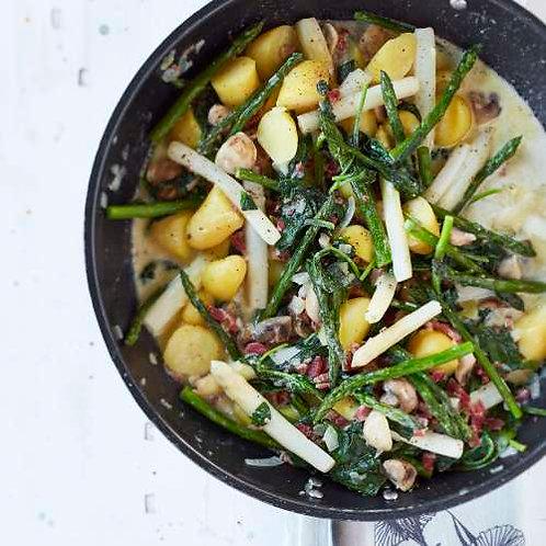 Pommes de terre au lard et au duo d'asperges