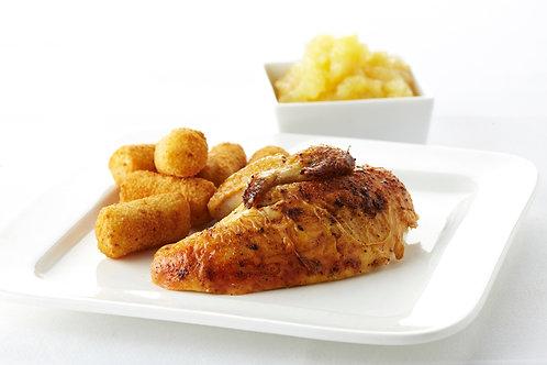 Cuisse de poulet rôtie, compote et croquettes