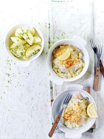 Mignonette de poisson, pommes de terre au beurre citronné et sauce aux poireaux