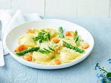 Ravioles aux écrevisses & aux asperges vertes, sauce homardine