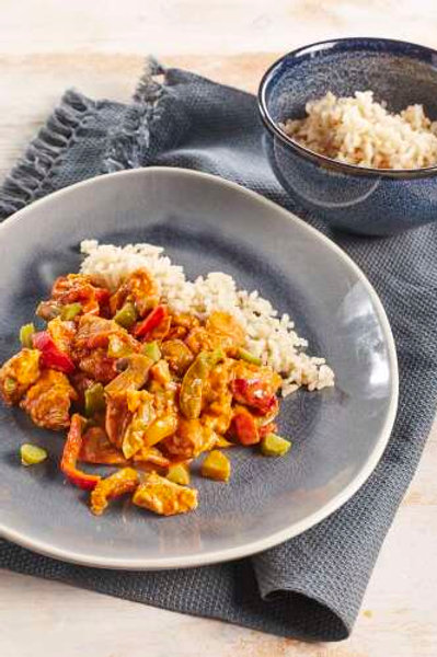 Dinde Stroganoff au riz Thai parfumé aux légumes