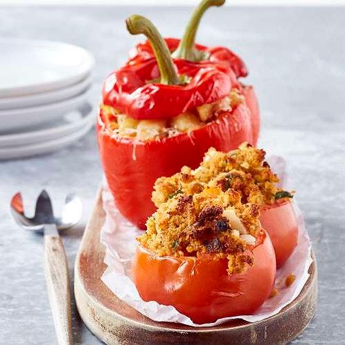 Mignonette de porc et duo farcis au crumble de tomate et maquereau