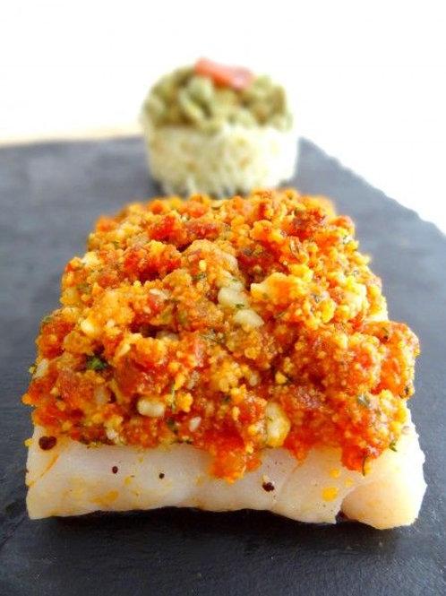 Cabillaud en croûte de chorizo, riz safrané aux petits pois et sa petite sauce