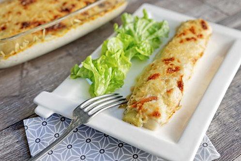 Poireaux gratinés au saumon & purée au beurre