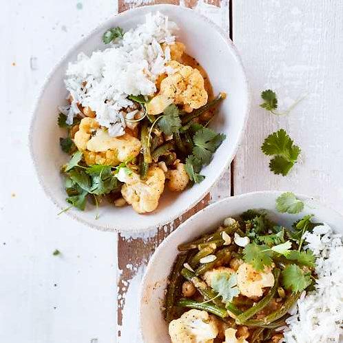 Curry de poulet/chou-fleur aux haricots verts