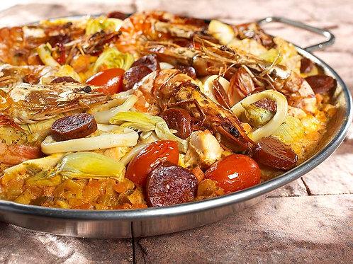 Paëlla du chef « Poissons, fruits de mer & chorizo »