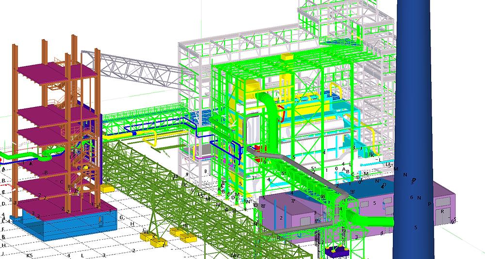 Celkový pohled na ocelářský model -  použitý software TEKLA Structures, Scia