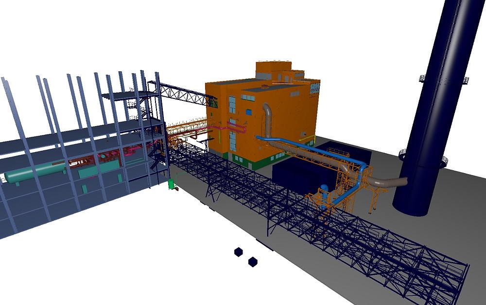Celkový pohled na potrubní model - použitý software CADMATIC, Caepipe