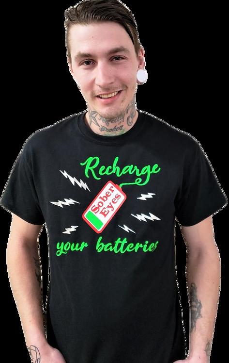 T-Shirt Black Gildan Unisex Recharge your batteries