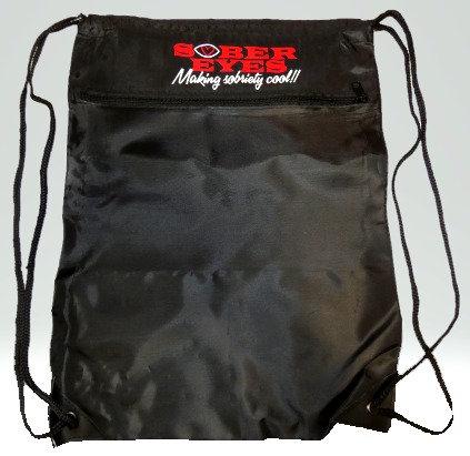 Zipper Drawstring Backpack Black