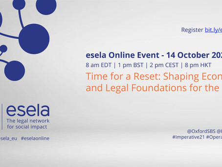 Time for a RESET: Shaping Economic and Legal Foundations, 14 Oct 2020