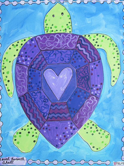 Turtle with heart print or notecard