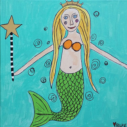 Mermaid with star and crown print or notecard