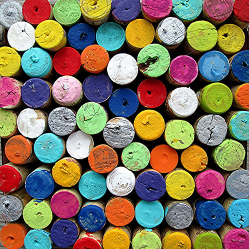 Colorful wine corks print or notecard