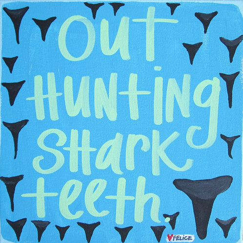 """Out hunting shark teeth."" print or notecard"