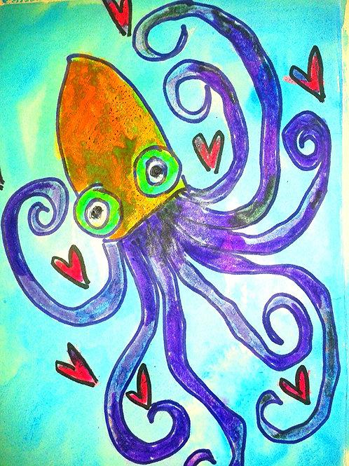Crazy octopus print or notecard
