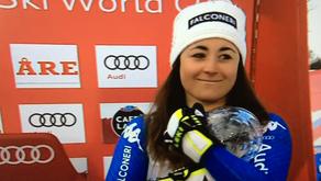 """Tre punti che valgono """"cristallo"""": Sofia Goggia vince la coppa di discesa."""