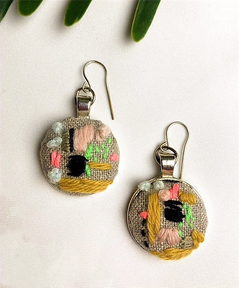 Abstract in Pink Embroidered Earrings