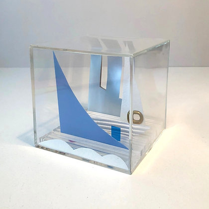 Paper Cube - Cityscape - Sailing On The Charles - Boston