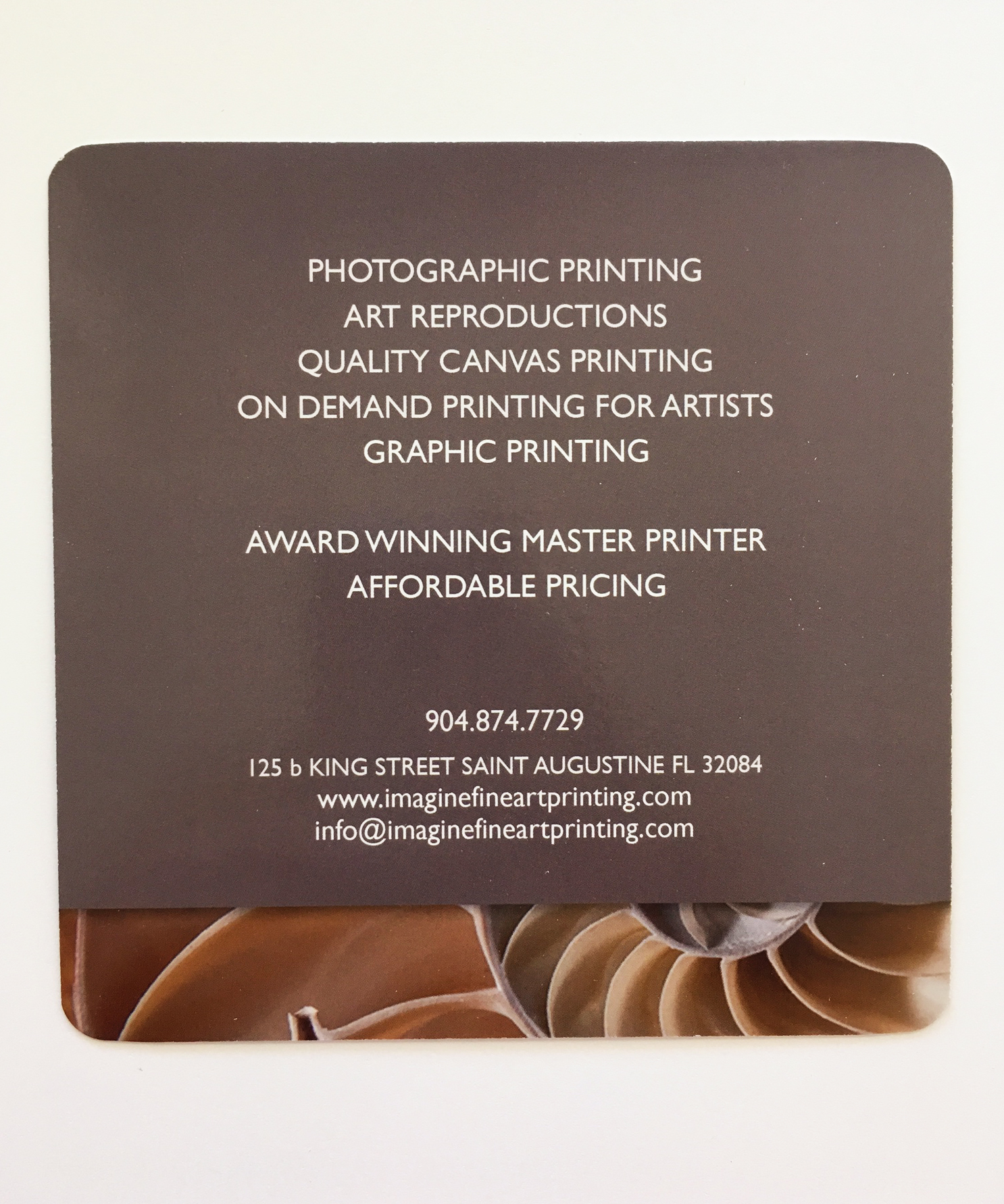 Imagine Fine Art Printing Rack Card