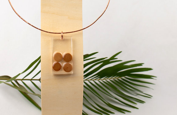 Four Piece Wood and Resin Choker