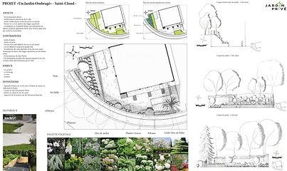 Jardin Privé Paysagiste Un jardin ombragé Saint-Cloud Avant-Projet