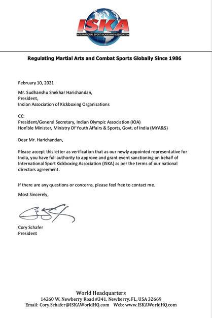 ISKA Authorisation Letter