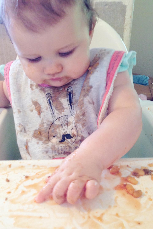 Baked beans baby led weaning BLW finger food
