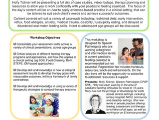 Paediatric Feeding Workshop for Speech Pathologists; Perth 2020