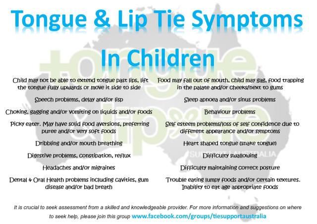tongue tie lip tie symptoms children eating feeding toddlers