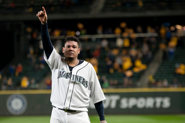 Mariners pitcher Felix Hernandez makes rounds around the stadium acknowledging his fans as finishes up his final inning of his last game. Seattle, WA. September 27, 2019.