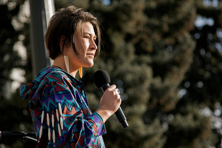 Speaker and Water Protector Deenaalee Hodgdon pauses during her speech to the climate change rally audience on Capitol Hill. January 31, 2020. Capitol Hill, Denver, CO.