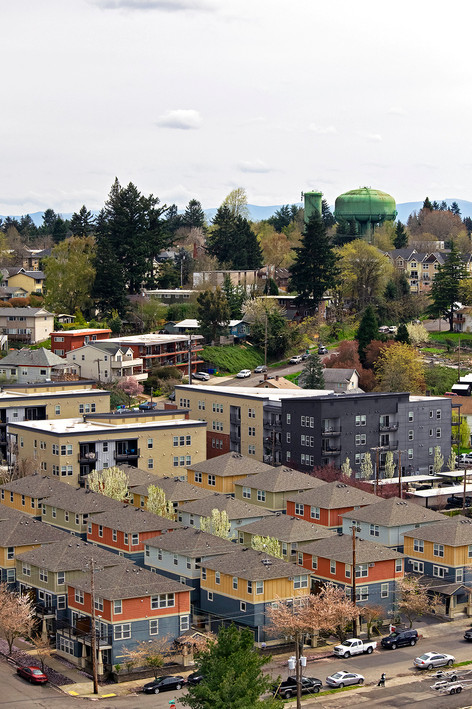 A slice of a colorful St. Johns neighborhood seen from the St. Johns Bridge in Portland, OR. 2017.